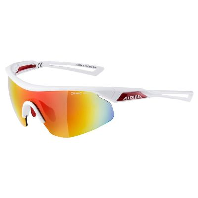 Alpina Nylos Shield Glasses White/Red Mirror Red Lens