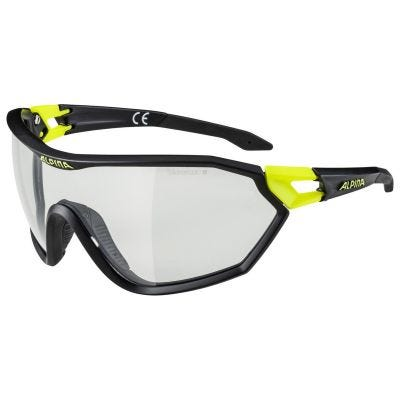 Alpina S-Way Cycling Glasses with Varioflex Lense Black/Yellow