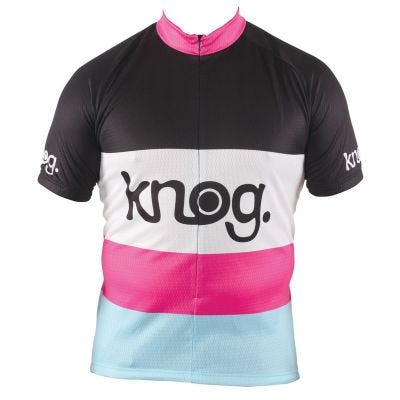 Outeredge Jersey Short Sleeve Knog Ladies Stripe Black/Pink Small