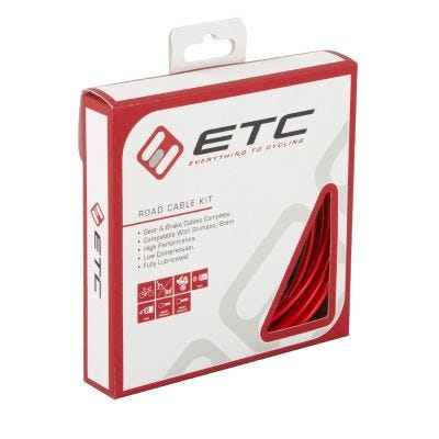 ETC Road Shift/Brake Cable Kit Red