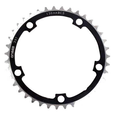 ETC Chainring Alloy CNC 130mm 5 Bolt Silver/Black