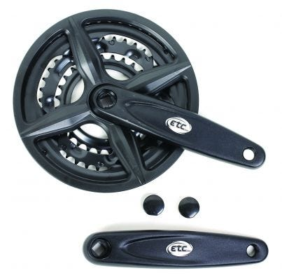 ETC Chainset 48/38/28T 170mm Black With Chainguard