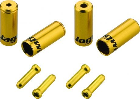 Jagwire Universal Pro Ferrule Kit Single Bike For Braided Casing Gold