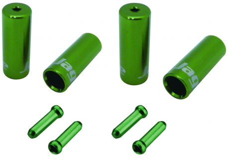 Jagwire Universal Pro Ferrule Kit Single Bike For Braided Casing Green