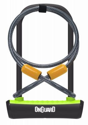 OnGuard Neon U-Lock + Extender Cable Green 115 x 230 x 11mm
