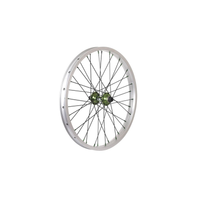 Savage Portal Double Wall Front BMX Wheel Silver/Green